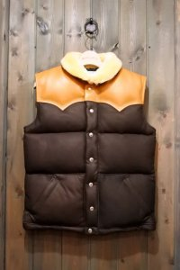JOE McCOY MOUTON COLLAR LEATHER DOWN VEST MJ16153