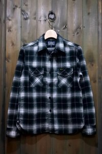 STUDIO D'ARTISAN CHECK L/S WORK SHIRT 5599 / BLACK