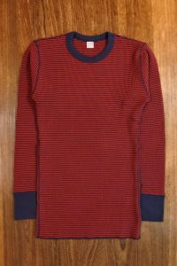 JOE McCOY TWO-TONE THERMAL SHIRT L/S MC17116 RED/NAVY