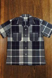 JOE McCOY INDIGO CHECK OPEN COLLAR SHIRT MS19010